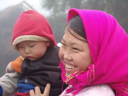 mother and kid, minority people, people of ha giang, ha giang hill tribe